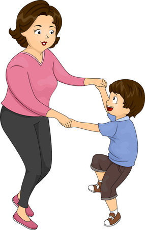 children only: Illustration of a Mother Dancing with Her Son Stock Photo