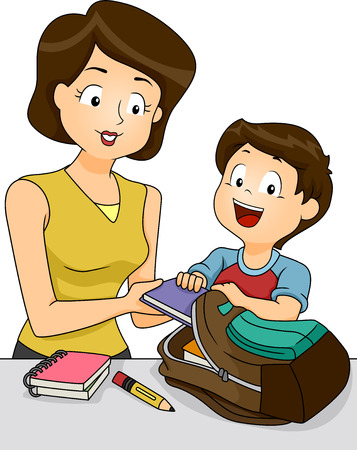 school things: Illustration of a Mother Helping Her Son Pack the Things He Needs for School Stock Photo