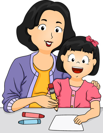 how to: Illustration of a Mother Teaching Her Daughter How to Write