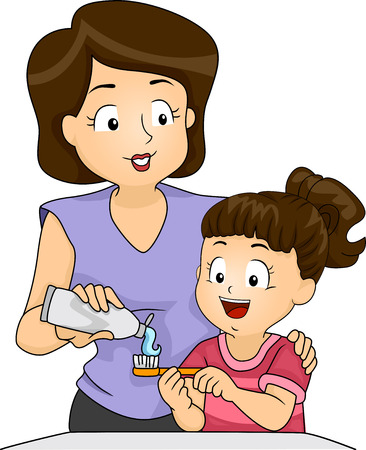 children only: Illustration of a Mother Teaching Her Daughter How to Brush Her Teeth