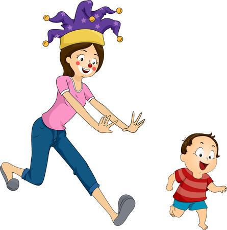 장난스럽게 그녀의 아들 후 실행하는 어머니의 그림