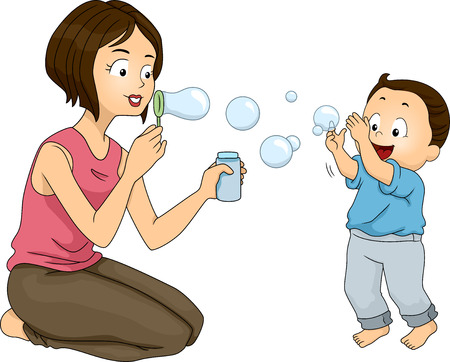 playtime: Illustration of a Mother Blowing Bubbles with Her Son