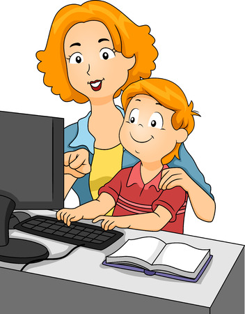 Illustration of a Mother Teaching Her Son on the Computer illustration