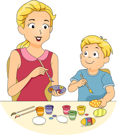 children only: Illustration of a Mother Painting Easter Eggs with Her Son Stock Photo