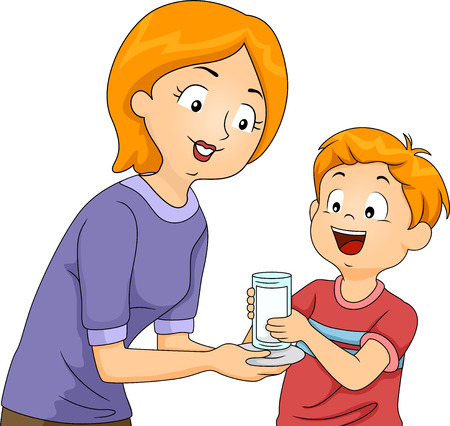 handing: Illustration of a Mother Handing a Glass of Milk to Her Son