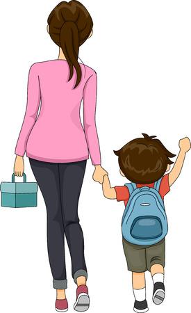 schoolchild: Illustratie van moeder en Jongen lopen naar school