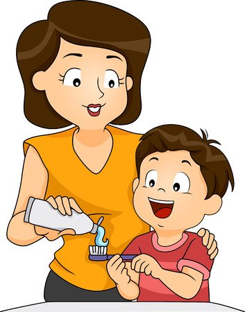 how to: Illustration of a Mother Teaching Her Son How to Brush His Teeth