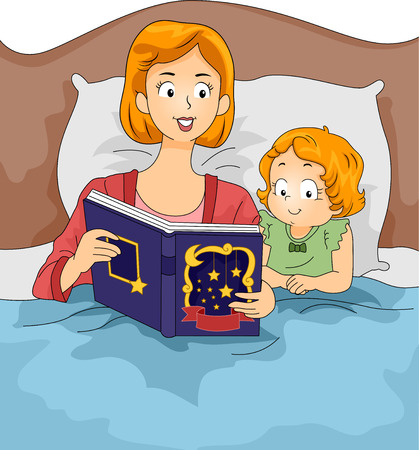 bedtime: Illustration of a Mother Reading a Bedtime Story to Her Daughter