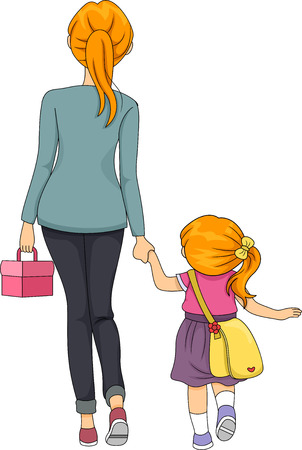 Illustration of a Mother Walking Her Daughter to School Stock Photo