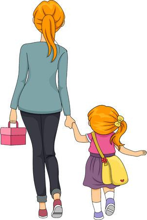 mother and daughter: Ilustración de una madre que recorre su hija a la escuela Foto de archivo
