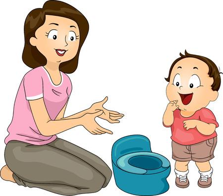 母のトイレを使用する彼女の息子を訓練のイラスト