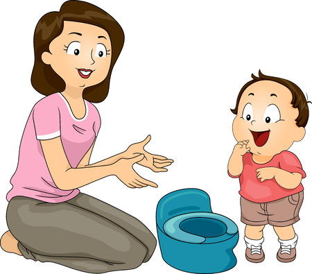 potty training: Illustration of a Mother Training Her Son to Use the Potty