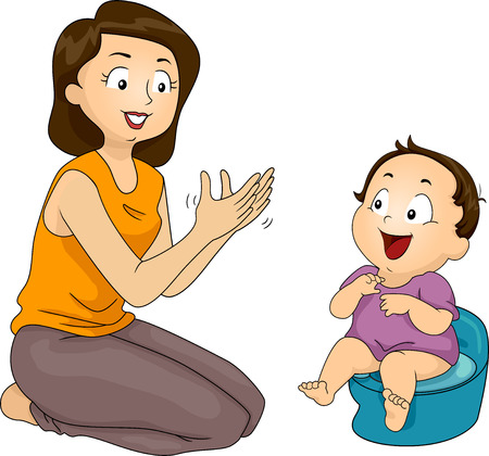 Illustration of a Mother Training Her Son to Use the Potty illustration