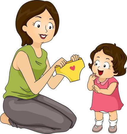 おむつの代わりに彼女の娘の新しいパンティーを提示母の図 写真素材