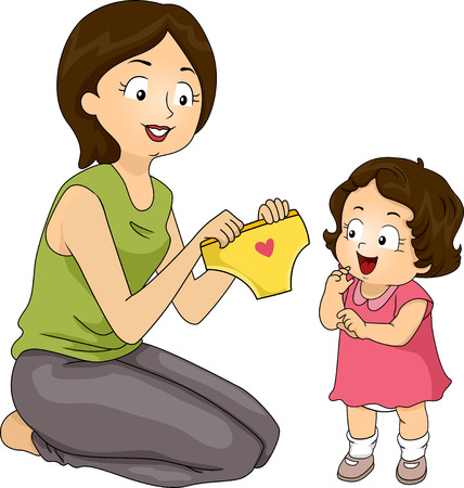 only baby girls: Illustration of a Mother Presenting Her Daughter New Panties in Place of Diapers Stock Photo