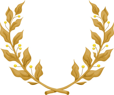 distinction: Illustration of a Golden Laurel Wreath Stock Photo