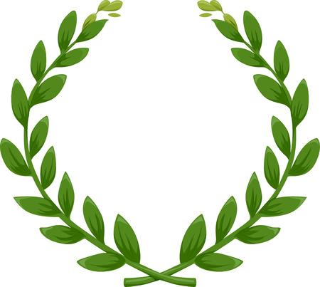 Illustration d'une couronne de laurier vert Banque d'images - 26342008