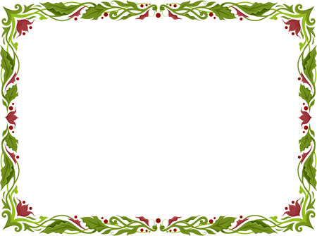 leafy: Illustration of a Frame with Leafy Vines for Borders