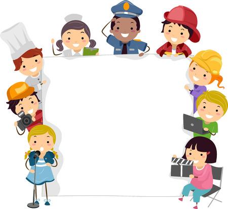 Illustration des enfants Le port des costumes des professionnels qu'ils veulent devenir dans l'avenir
