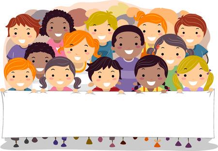 bonhomme allumette: Illustration des enfants marcher ensemble tout en tenant une bannière blanche