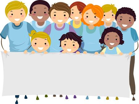 niños con pancarta: Ilustración de los niños y adultos que marchan, mientras sostiene una bandera