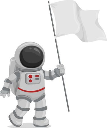 Illustrazione di un astronauta indossa una bandiera in bianco Archivio Fotografico - 26342083