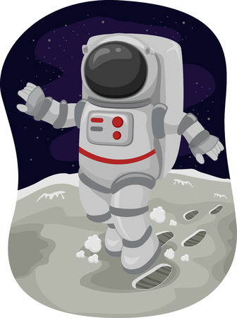 spaceflight: Illustration of an Astronaut Doing a Moonwalk in Space