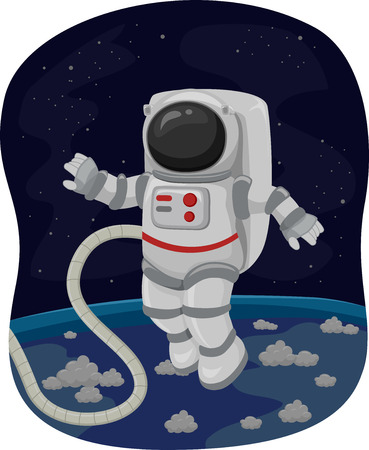 outerspace: Illustration of an Astronaut Doing a Spacewalk
