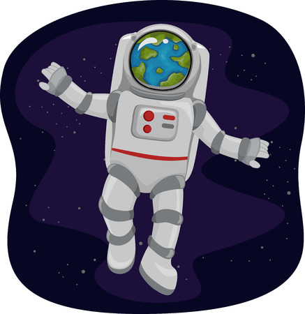 outerspace: Illustration of an Astronaut Viewing the Earth from Space