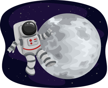 spaceflight: Illustration of an Astronaut Floating in Space Set Against the Backdrop of the Moon Stock Photo