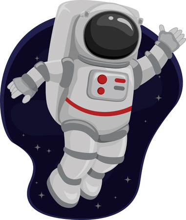 spaceflight: Illustration of an Astronaut Waving from Space Stock Photo