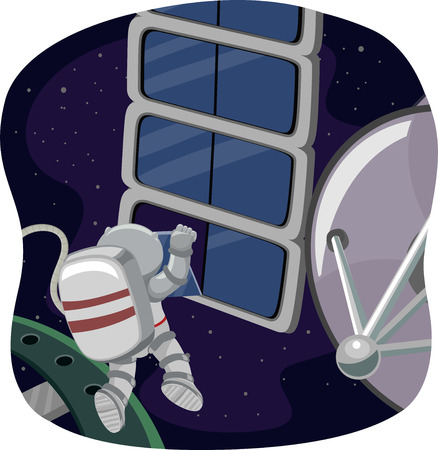 spaceflight: Illustration of an Astronaut Doing Some Space Work Stock Photo
