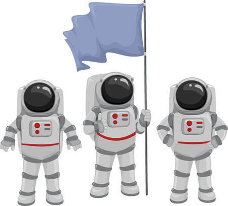 outerspace: Illustration of a Team of Astronauts Huddled Under a Blank Flag