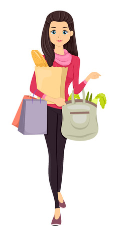 Illustration of a Girl Carrying Bags of Groceries illustration