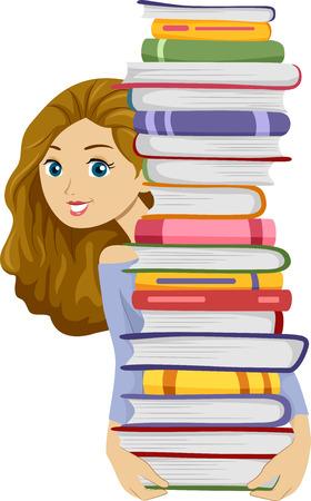 Illustration von einem Mädchen mit einem hohen Stapel von Bücher