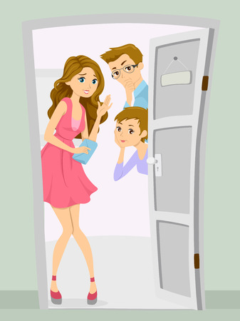 art door: Illustration of a Mother and Father Curious About Their Teenage Daughters Date Stock Photo