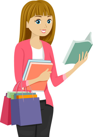 Illustration of a Girl Shopping for Books illustration