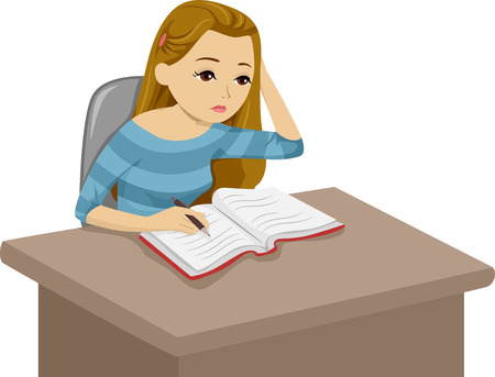 Illustration of a Girl Reading a Book While Taking Notes Down