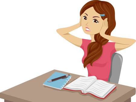 annoying: Illustration of a Girl Having Trouble Studying Because of Unwanted Noises Stock Photo