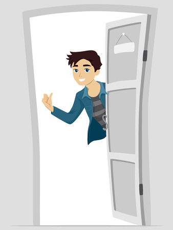 welcoming: Illustration of a Boy Welcoming People into His Home