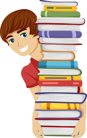 Illustration of a Guy Carrying a Tall Stack of Books illustration