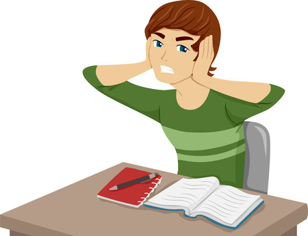 unwanted: Illustration of a Guy Having Trouble Studying Because of Unwanted Noises