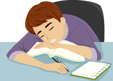 dozing: Illustration of a Guy Dozing Off to Sleep While Studying Stock Photo
