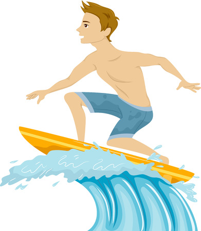 guy standing: Illustration of a Guy Standing on a Surfboard Riding the Waves Stock Photo