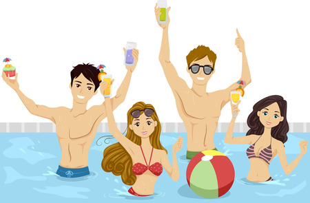 pool fun: Illustration of a Group of Teenagers Having a Pool Party