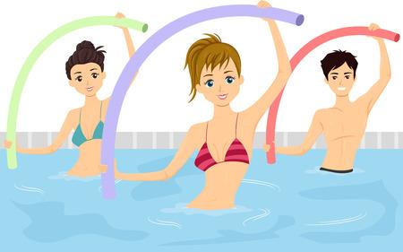hombres haciendo ejercicio: Ilustración de un grupo de adolescentes que hacen de Aqua Aerobics