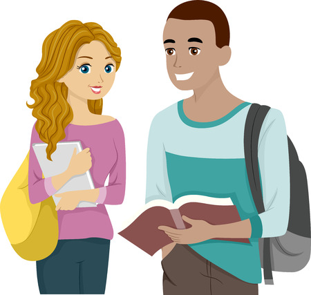 adults learning: Illustration of a Male and Female Teens Sharing a Book