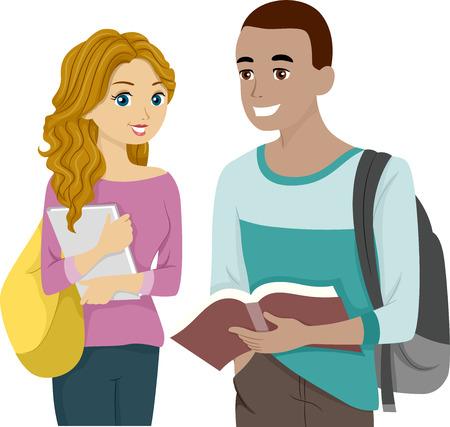 Ilustración de un macho y de la hembra adolescentes comparten un libro