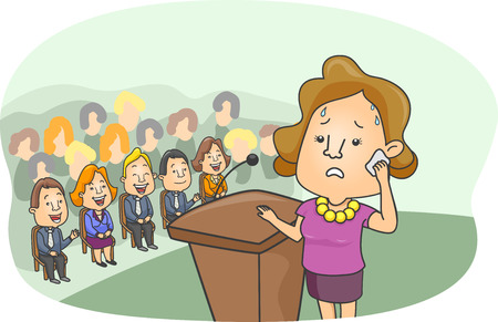 scared: Illustration of a Girl with a Worried Look on Her Face Sweating Profusely While Standing Behind the Podium