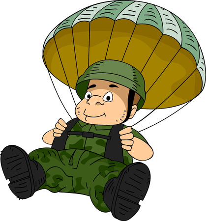 Illustration von einem Mann Fallschirmjäger Manuevering einen Fallschirm Standard-Bild